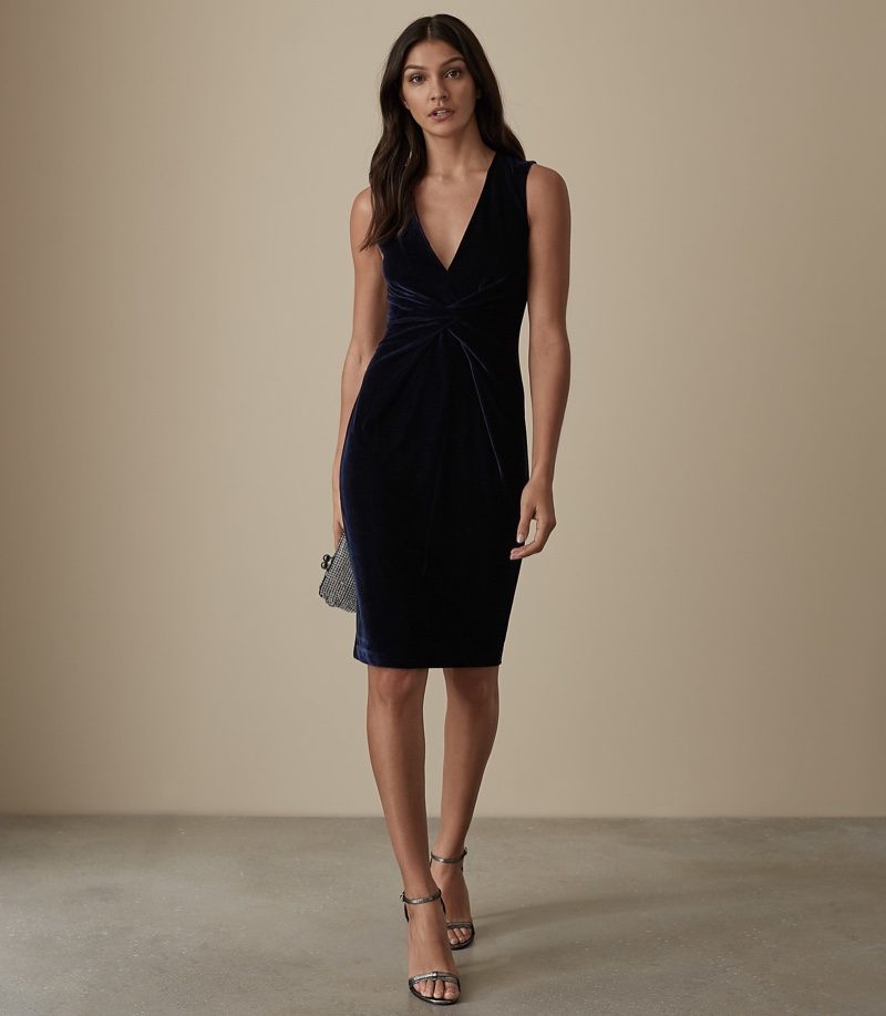 Reiss Mosaic Velvet Twist Front Dress $330