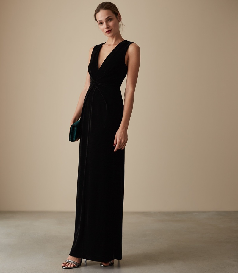 Reiss Veronique Velvet Twist Front Maxi Dress $425
