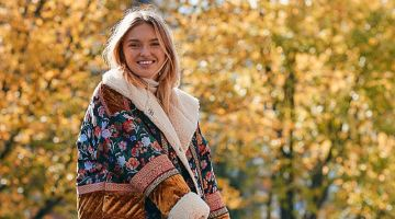 Free People Out With A Bang Coat, Maddox Denim Flare Jeans and New Balance 840 Trainer