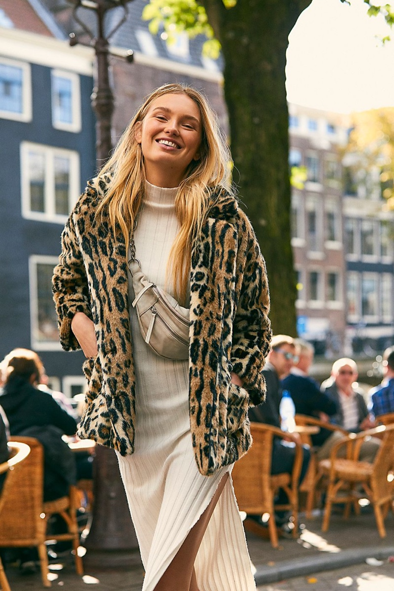 Free People Kate Leopard Coat and Riley Chain Belt Bag