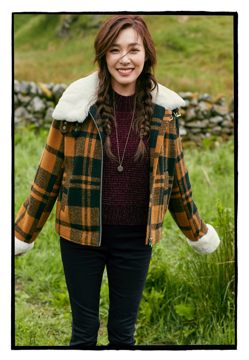 H&M Jacket with Faux Fur Collar, Rib-Knit Sweater and Slim-Fit Pants