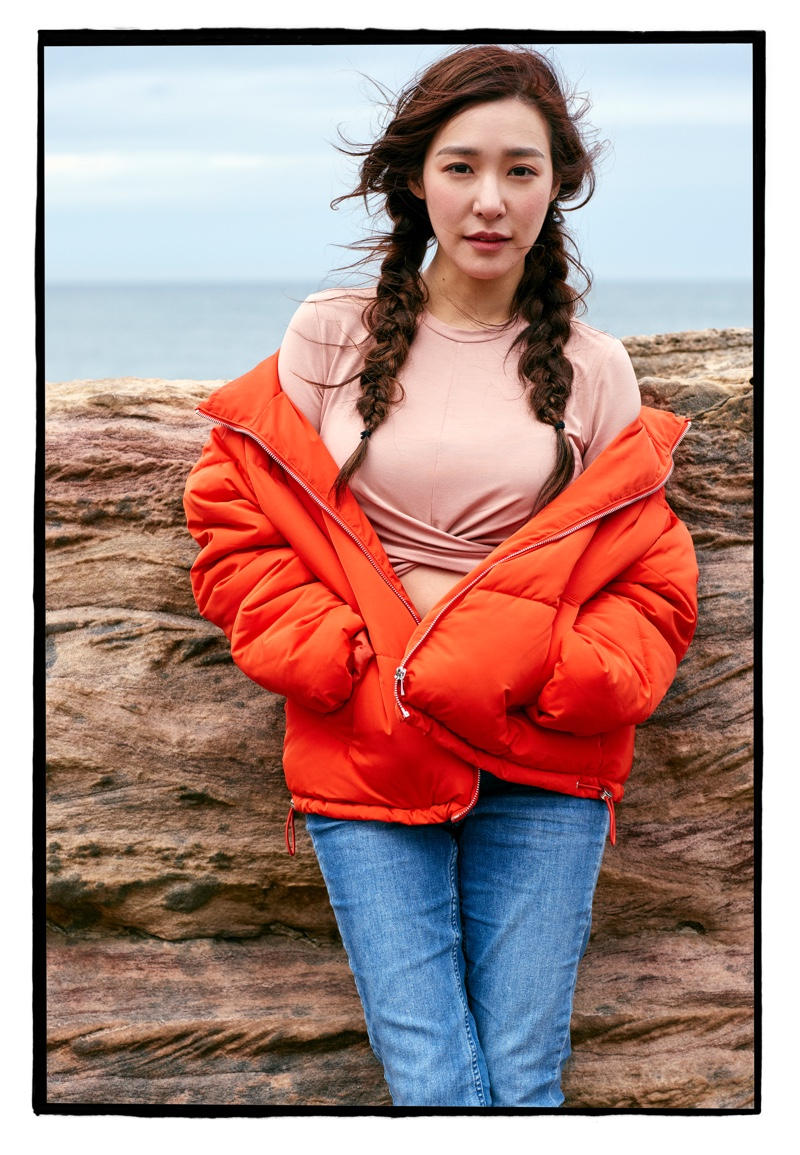 H&M Padded Jacket and Short Knot-Detail Jersey Top