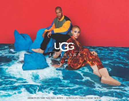 Heron Preston and Adwoa Aboah pose for UGG 40th anniversary campaign