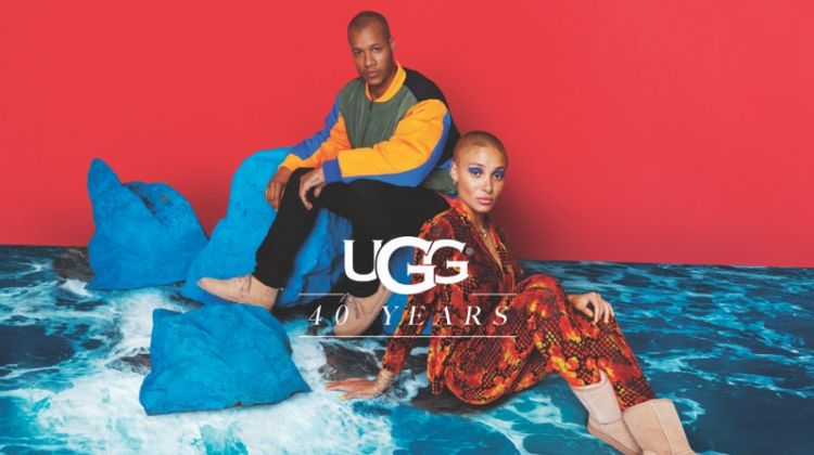 Heron Preston and Adwoa Aboah pose for UGG 40th anniversary campaign