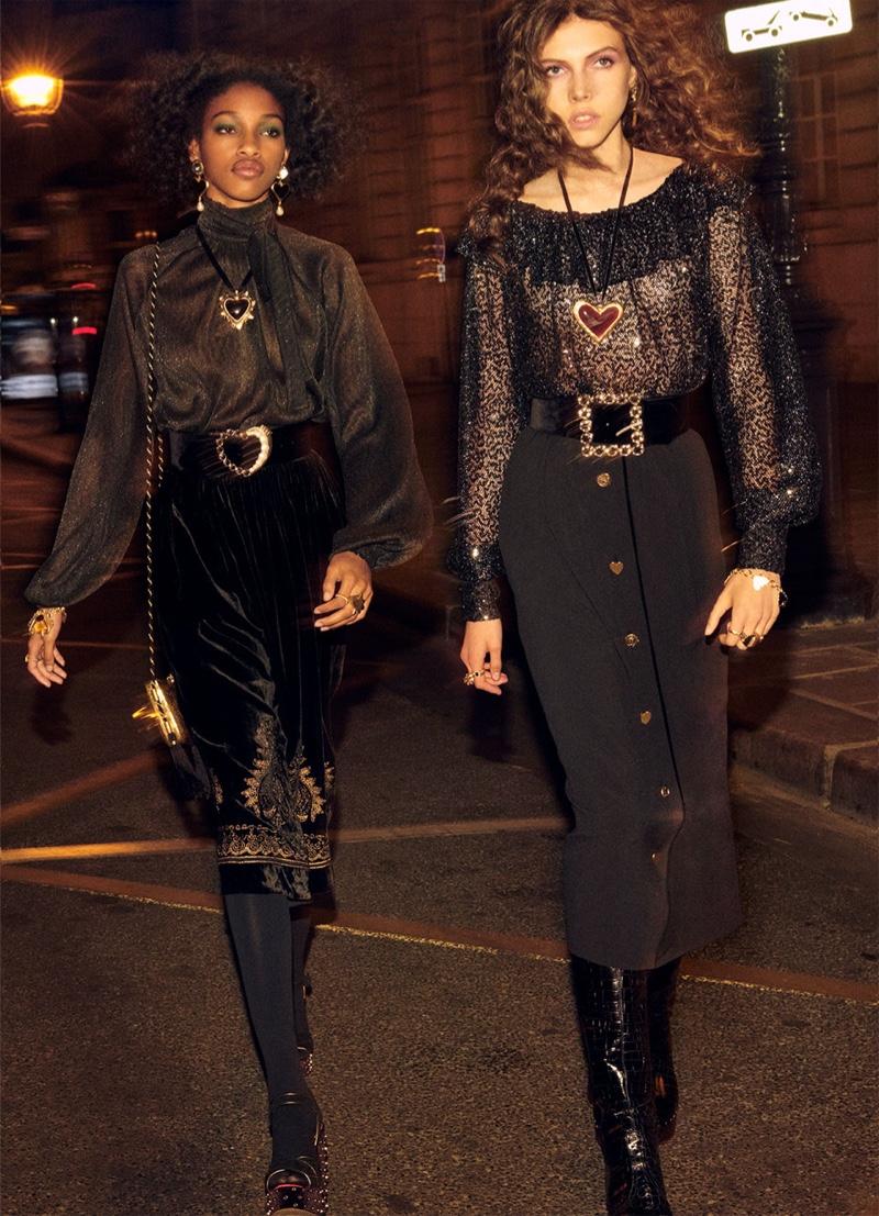 Naomi Chin Wing and Lea Julian pose in Zara Collection fall-winter 2018 campaign
