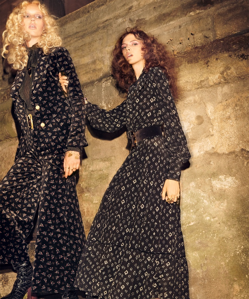 Jessie Bloemendaal and Lea Julian pose in Zara Collection fall-winter 2018 campaign