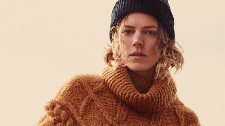 Freja Beha Erichsen models Zara Cable Knit Sweater and Basic Beanie Hat