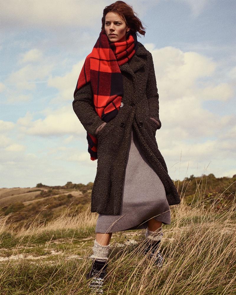 Zara Fleece Coat, Skirt, Hiking Boots and Plaid Scarf