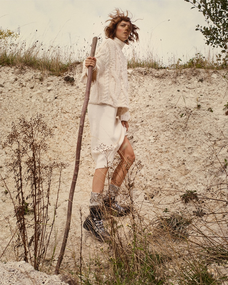 Freja Beha Erichsen models Zara Braided Cable Knit Sweater, Long Knit Dress, Soft Feel Sweater and Hiking Boots