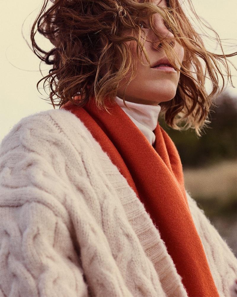 Freja Beha Erichsen poses for Zara Cozy Feeling fall-winter 2018 lookbook