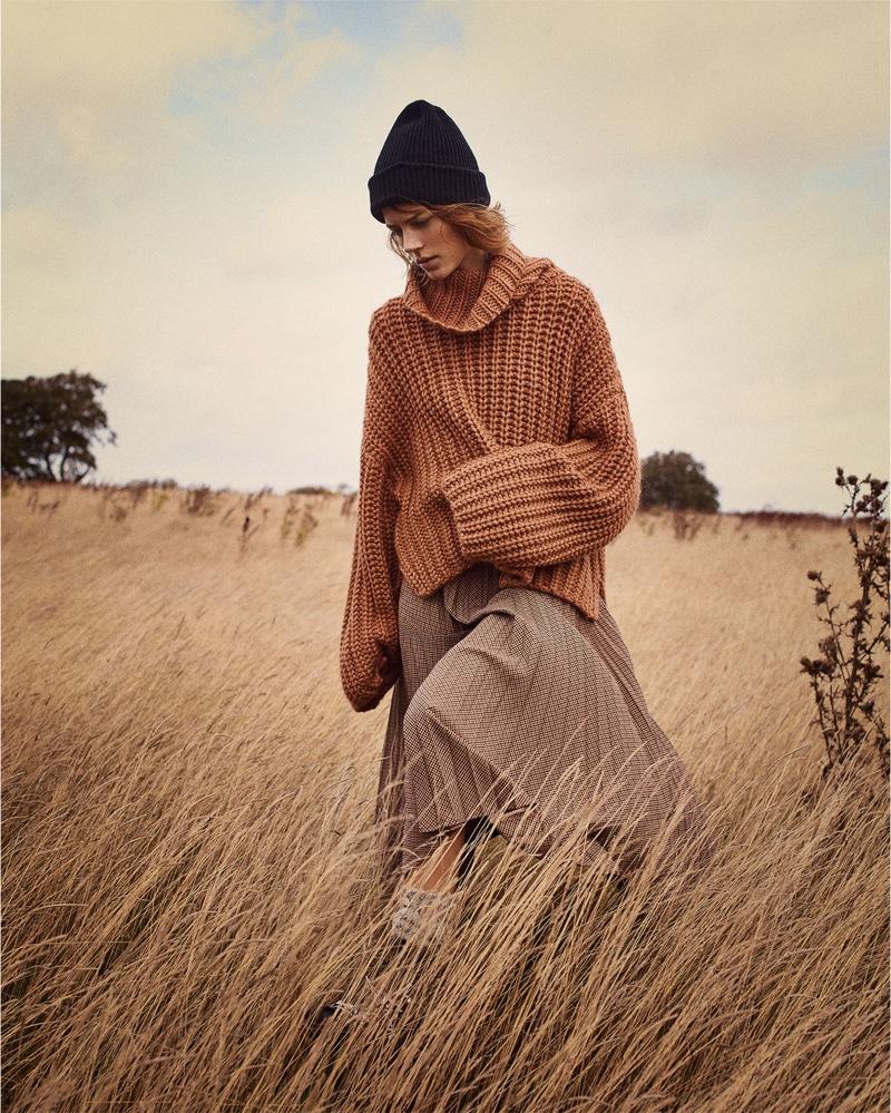 Zara Oversized Sweater, Pleated Plaid Skirt, Hiking Boots and Basic Beanie Hat