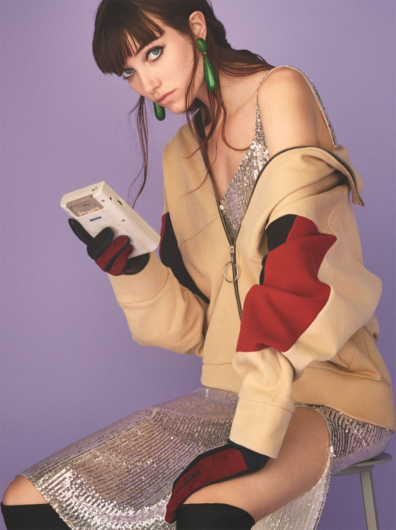 Grace Hartzel models Zara Block Color Sweatshirt, Sequin Dress, Kitten Heel Over-the-Knee Boots, Teardrop Earrings and Leather Patchwork Gloves