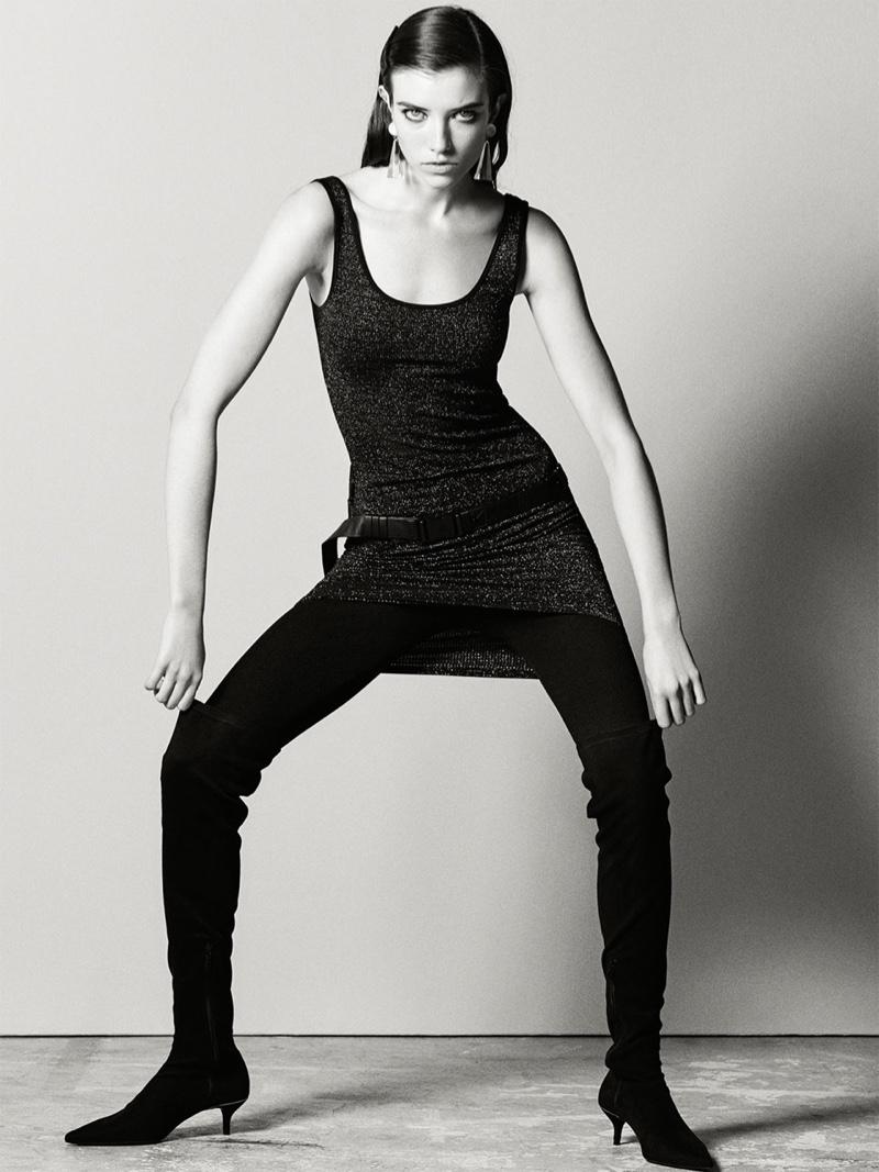Grace Hartzel wears Zara Dress with Metallic Thread and Kitten-Heel Over-the-Knee Boots
