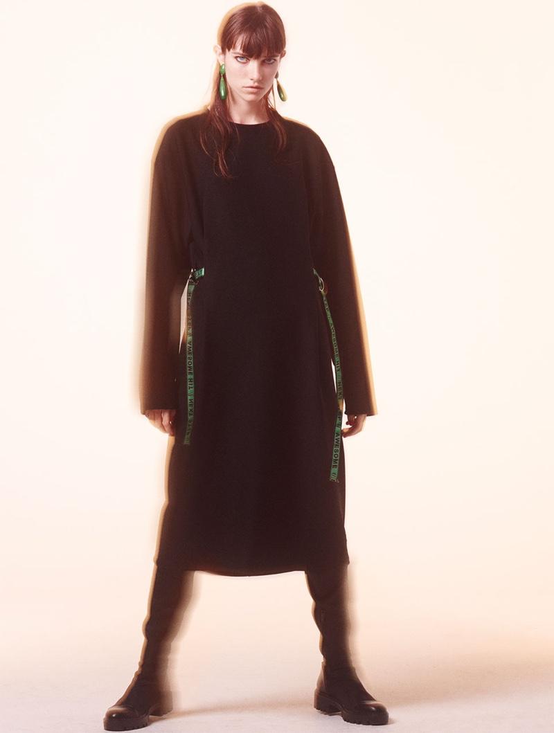 Grace Hartzel models Text Print Strap Dress and Tall Lug Soled Boots