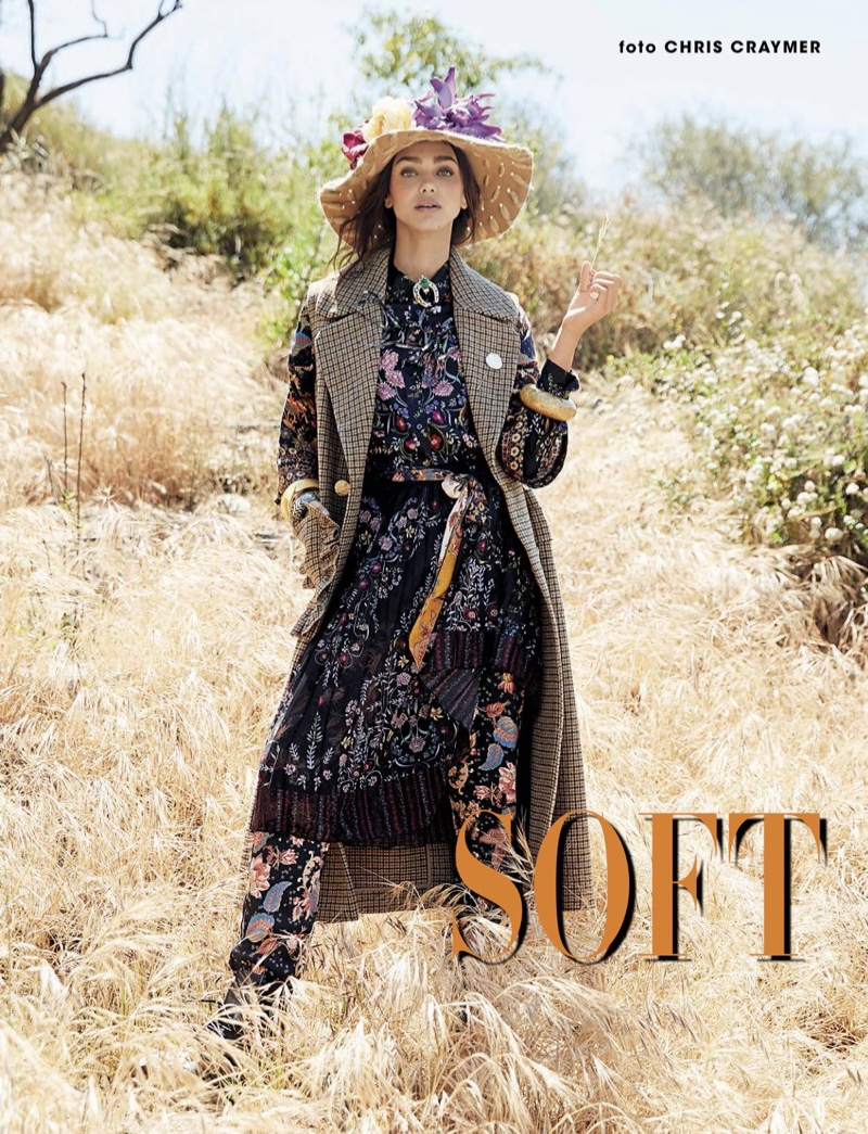 Zhenya Katava Poses in Boho Fashions for Glamour Italy