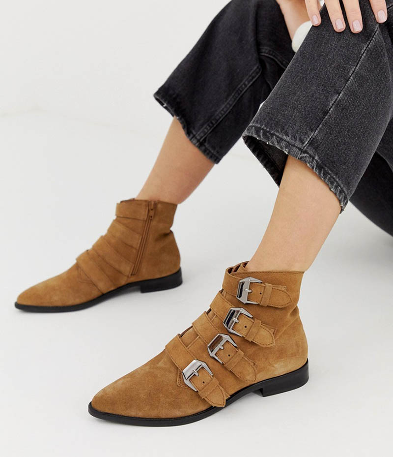 ASOS Design Alissa Leather Buckled Boots in Tan $87