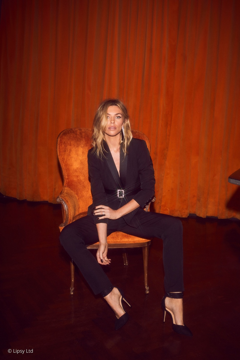 Suiting up, Abbey Clancy wears her Lipsy London collaboration