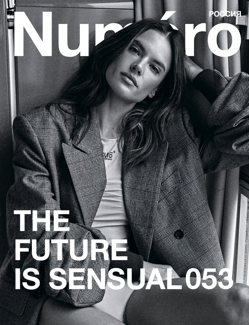 Model Alessandra Ambrosio poses on Numero Russia #53 Cover