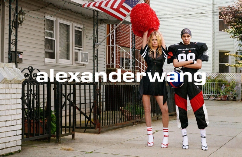Anna Ewers and Binx Walton play a cheerleader and football player in Alexander Wang Collection 1 Drop 1 campaign
