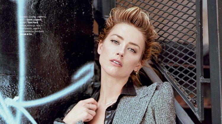 Embracing sequins, Amber Heard poses in Saint Laurent and Tom Ford