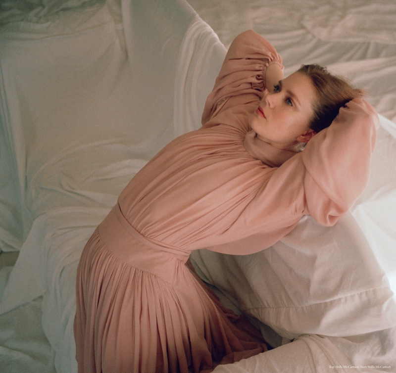 Looking pretty in pink, Amy Adams wears Stella McCartney top and skirt