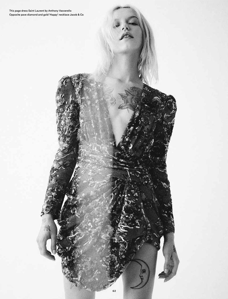 Photographed in black and white, Bria Vinaite wears Saint Laurent dress