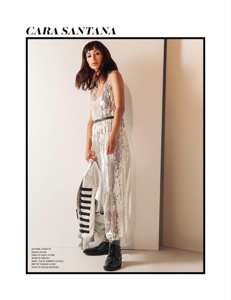 Actress Cara Santana poses in Malika Rajani leather jacket, Marc Jacobs dress and Melissa shoes