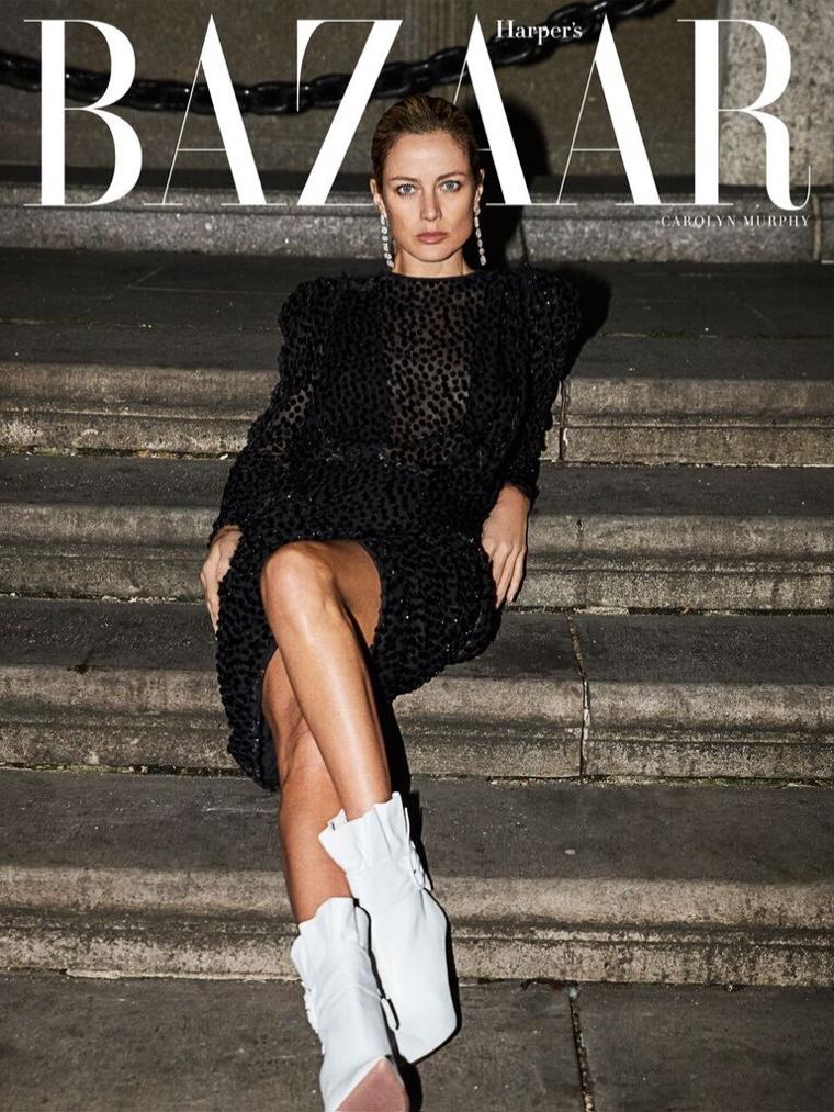 Carolyn Murphy Wears Nighttime Looks in Harper's Bazaar Greece