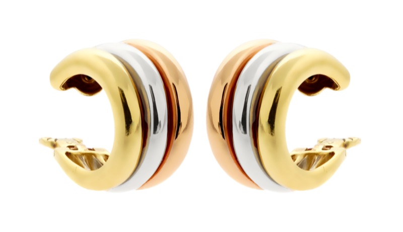 Cartier Trinity Tri Color Gold Hoop Earrings