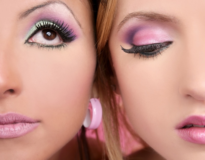 Vibrant eyeshadow provides an 80s inspired makeup look.