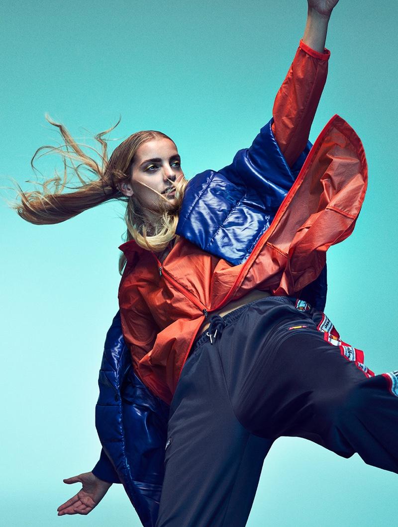 Denisa Dvorakova Wears Bold Outerwear in Woman Spain