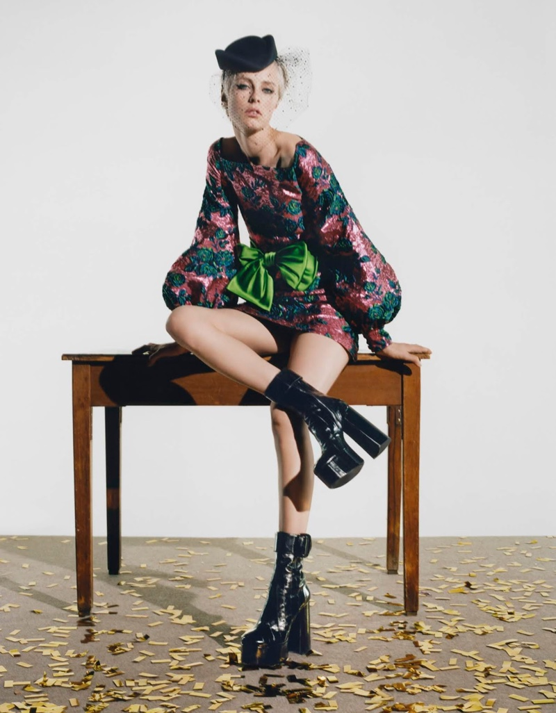 Edie Campbell Poses in Statement Looks for Vogue Poland
