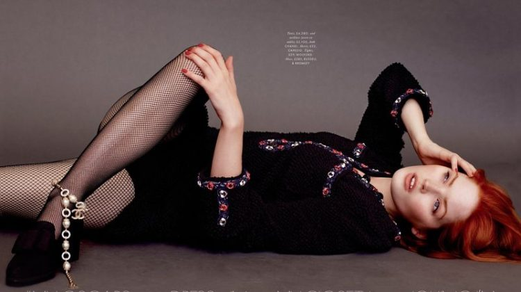 Ellie Bamber poses in Chanel tunic