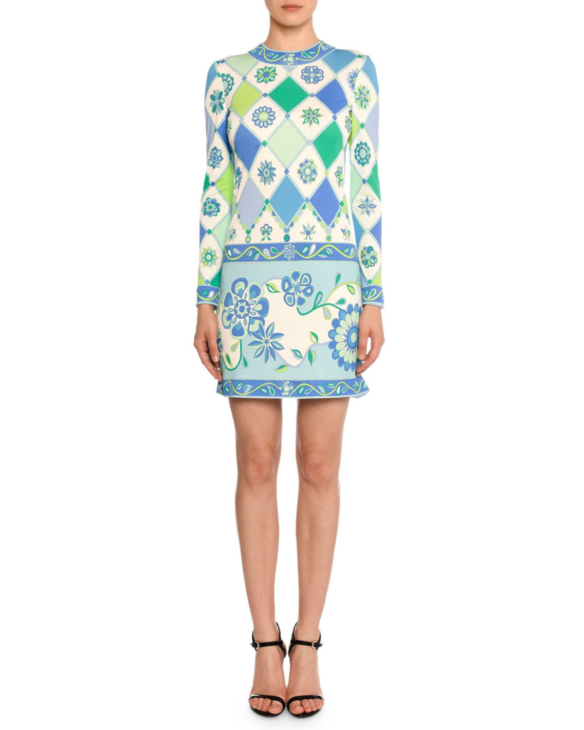 Emilio Pucci Long Sleeve Round Neck Wallpaper Print Sheath Dress $1,665
