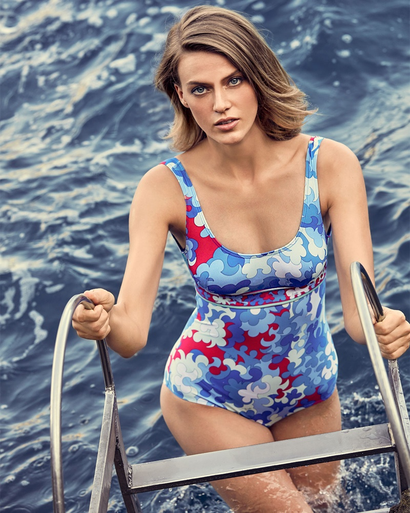 Emilio Pucci Scoop-Neck Hydrangea Print One-Piece Swimsuit $520