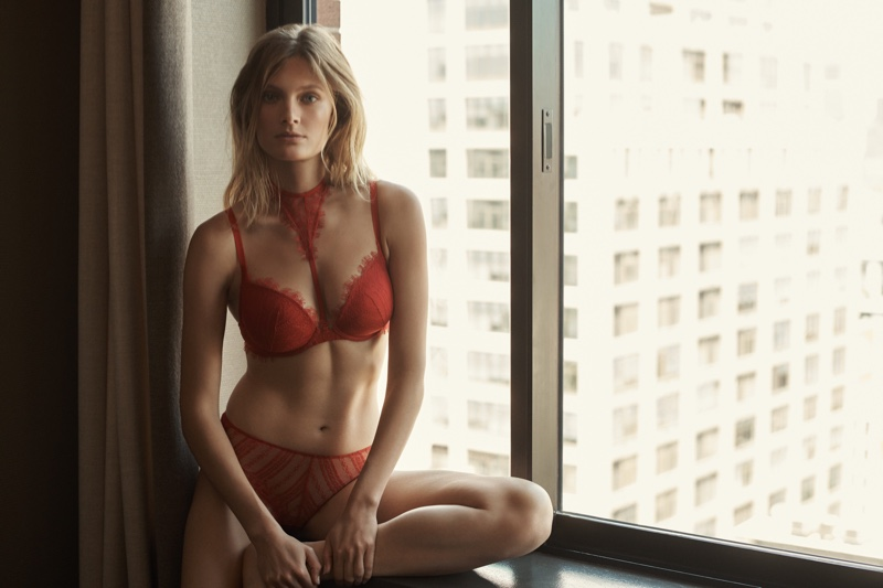 Looking red-hot, Constance Jablonski models lingerie from Etam
