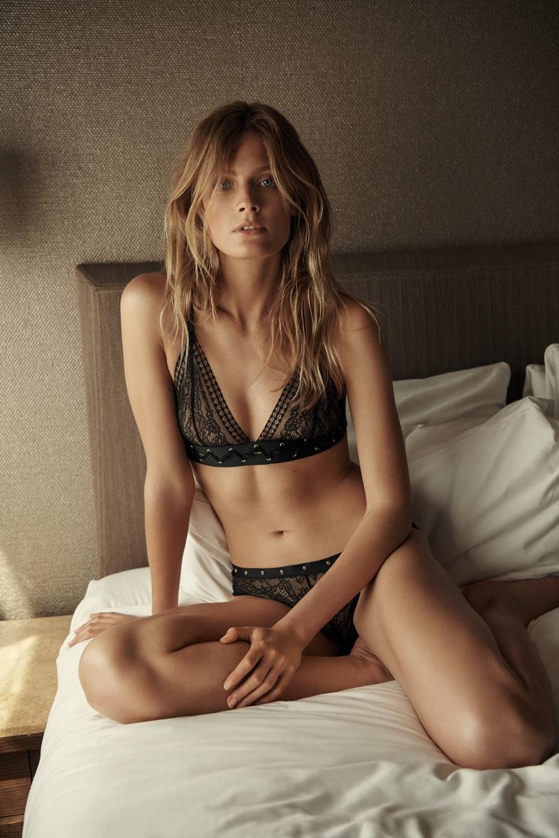 Posing in bed, Constance Jablonski appears in Etam fall-winter 2018 campaign
