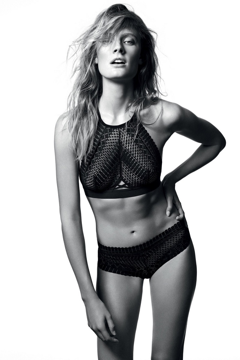 Photographed in black and white, Constance Jablonski fronts Etam Lingerie fall-winter 2018 campaign