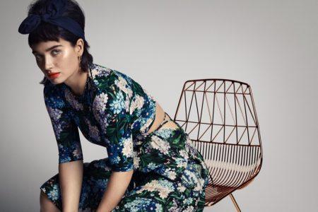 Embracing florals, Eve Hewson wears Balenciaga dress and Bonheur earrings