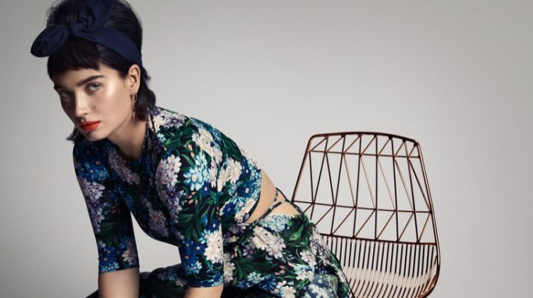 Embracing florals, Eve Hewson wears Balenciaga dress and Bonheur earrings