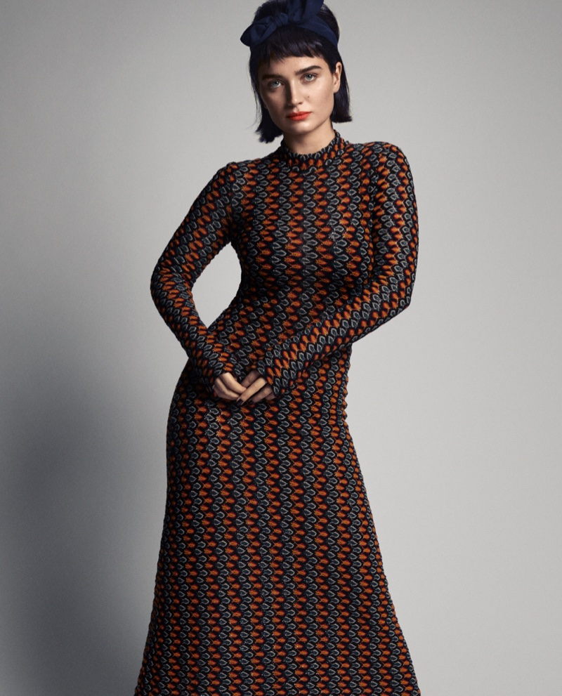 Actress Eve Hewson poses in Beaufille dress