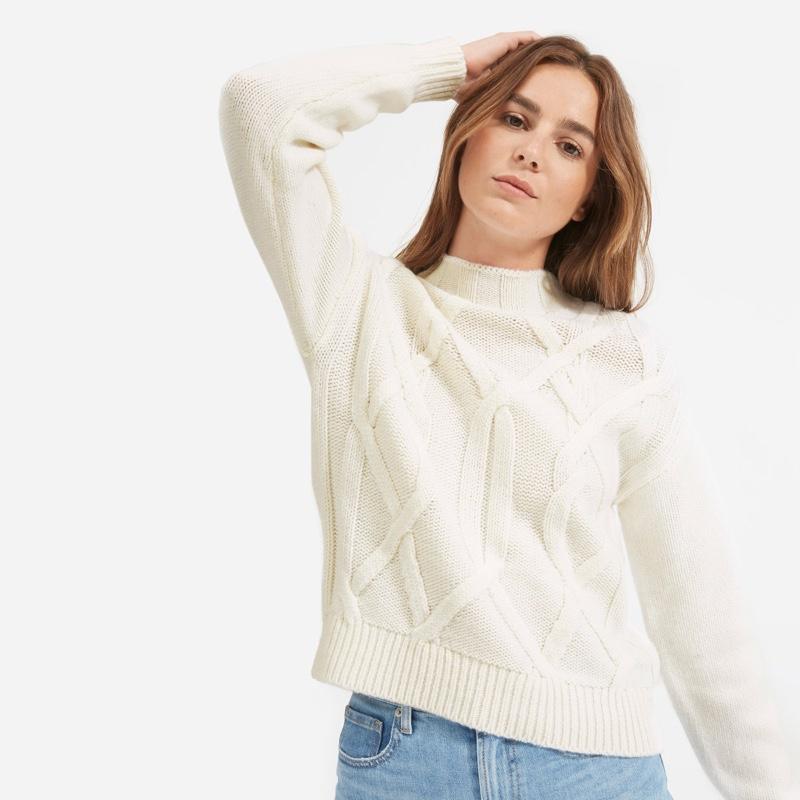 Everlane Cable Mockneck Sweater in Bone $155
