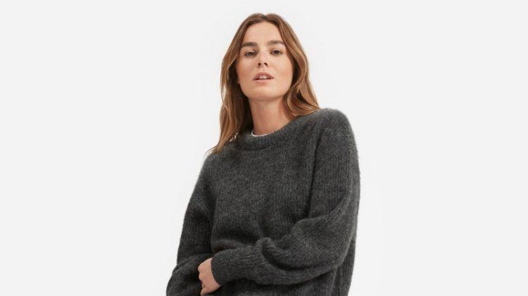Everlane Oversized Alpaca Crew Sweater in Heather Charcoal $95
