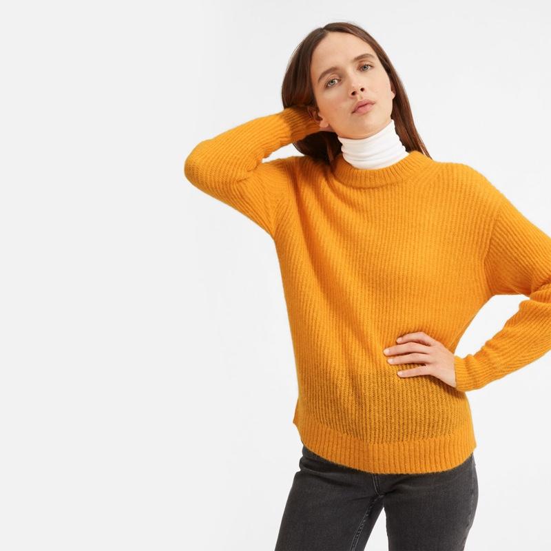 Everlane Oversized Alpaca Crew Sweater in Tang $95