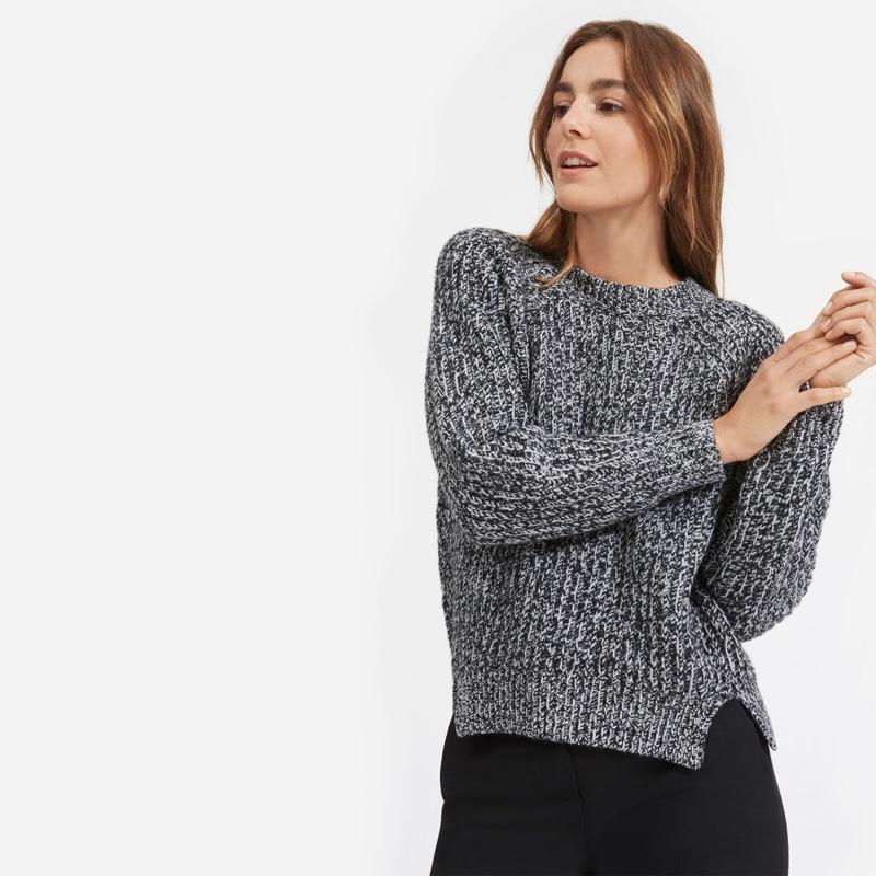 Everlane Soft Wool Rib Crew Sweater in Black/White Marl $135