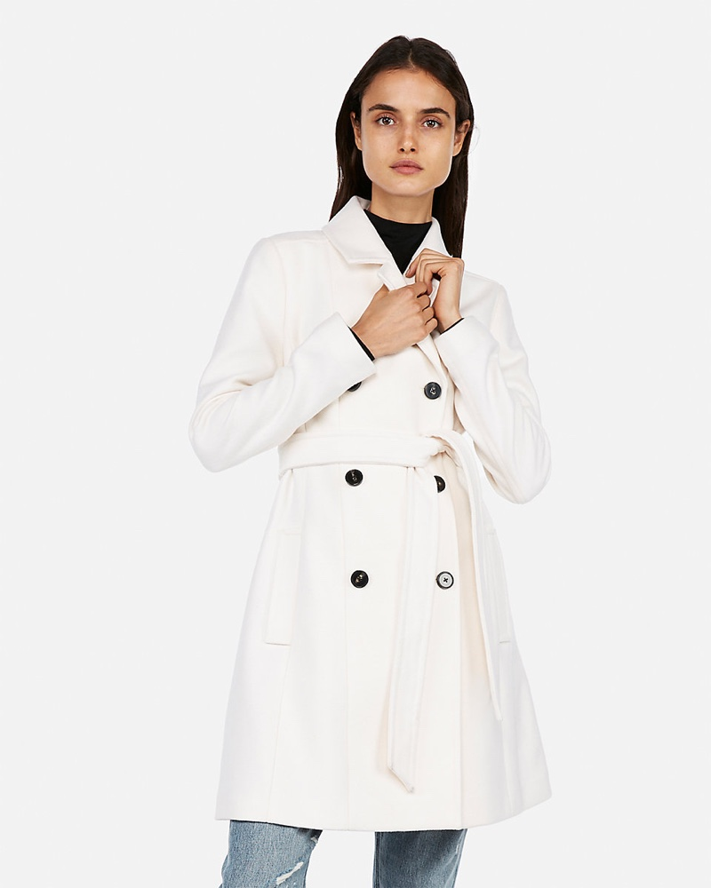 Express Belted Wool Blend Trench Coat in Ivory $114 (previously $228)