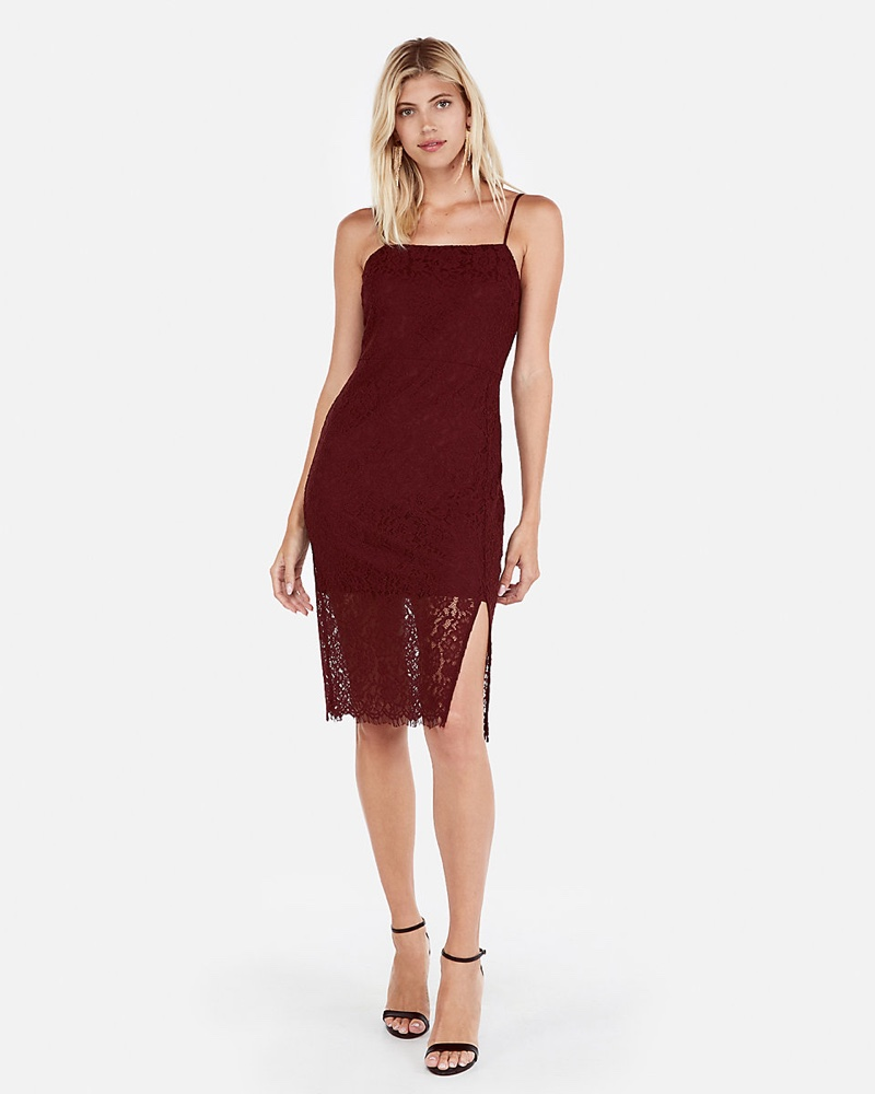 Express Front Slit Lace Sheath Dress in Wine $39.95 (previously $79.90)