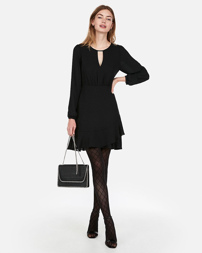 Express Keyhole Cut-Out Ruffle Wrap Dress in Black $34.95 (previously $69.90)