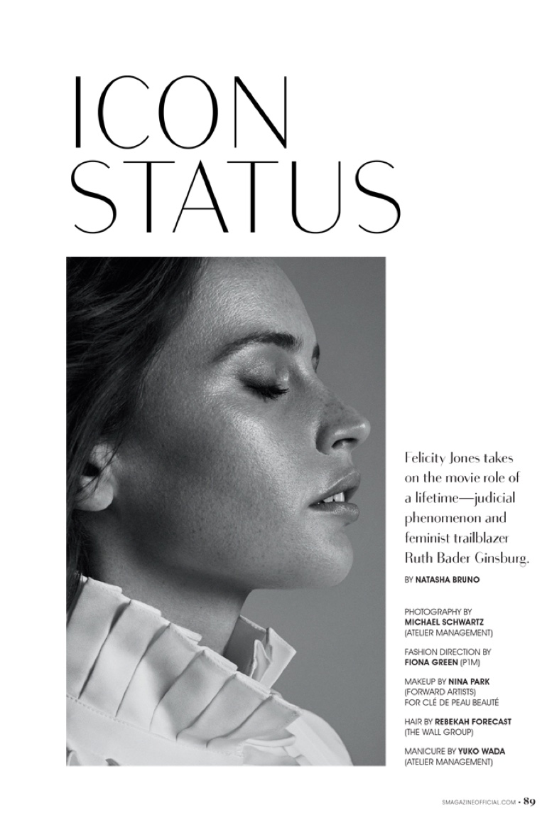 Photographed by Michael Schwartz, Felicity Jones gets her closeup in a black and white shot