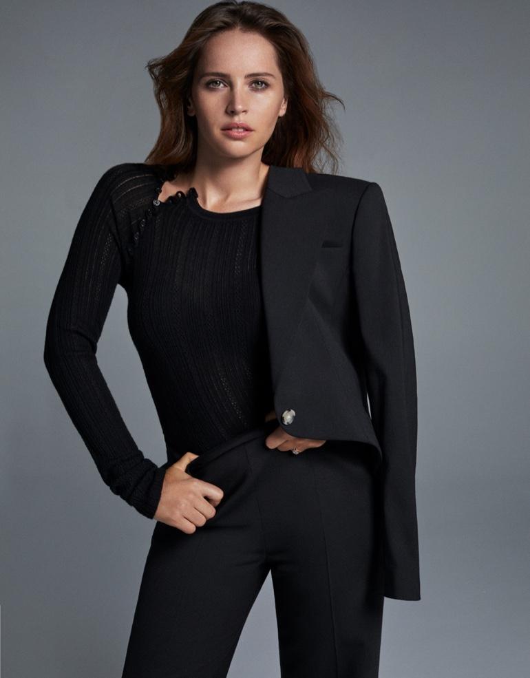 Wearing all black, Felicity Jones poses in chic ensemble